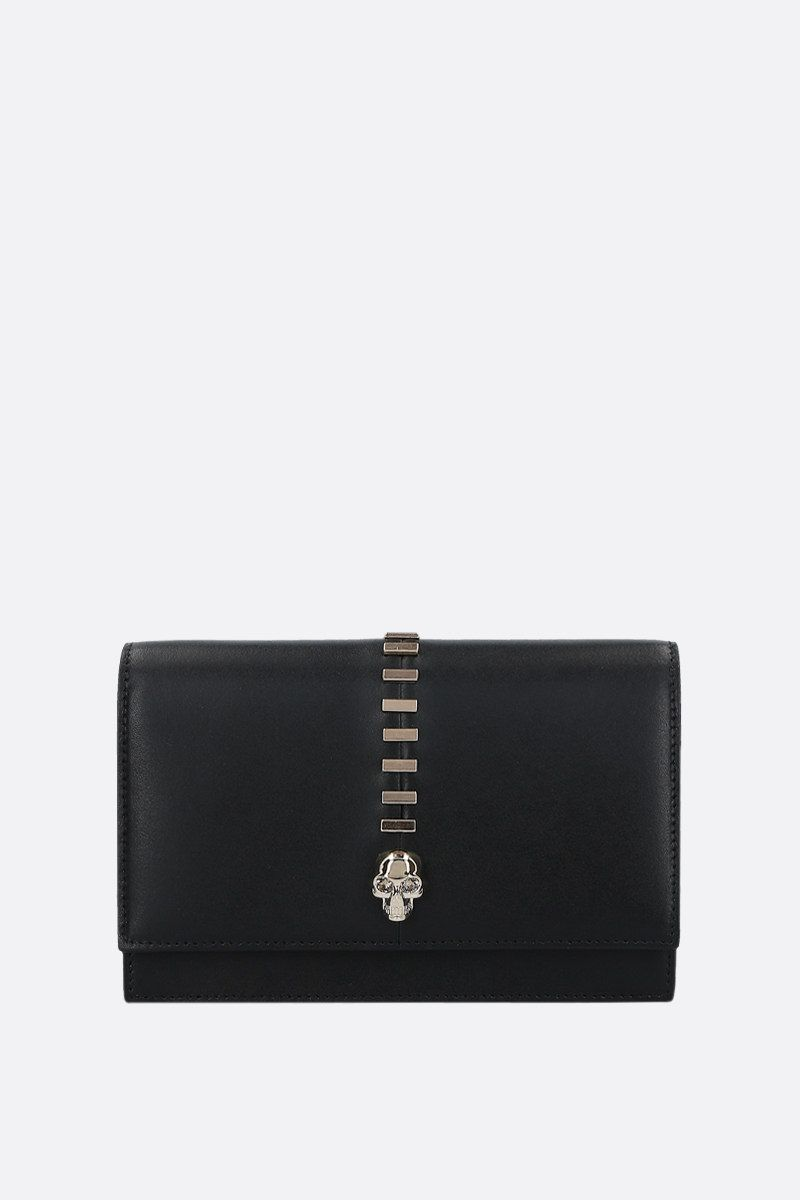 ALEXANDER McQUEEN: Skull mini studded smooth leather crossbody bag Color Black_1