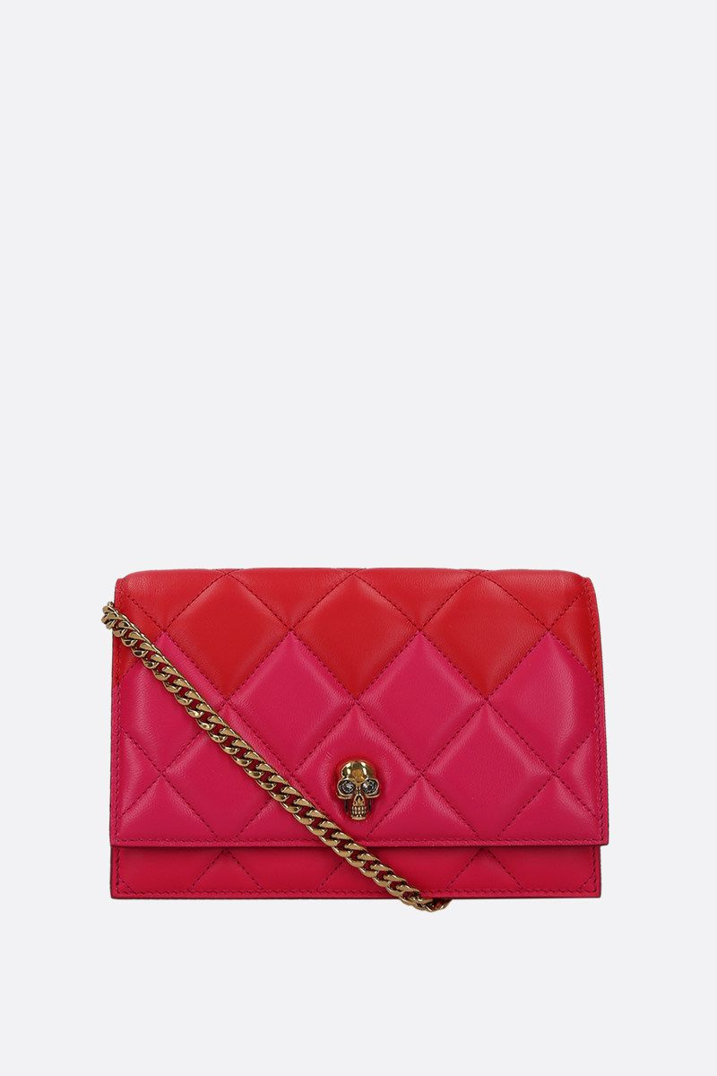 ALEXANDER McQUEEN: Skull mini quilted nappa crossbody bag Color Pink_1
