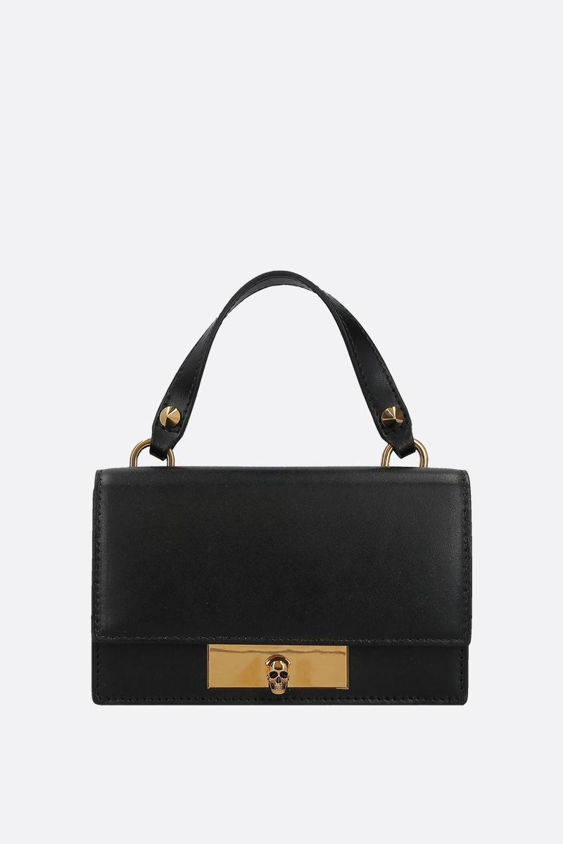 ALEXANDER McQUEEN: smooth leather Skull-lock crossbody bag Color Black_1