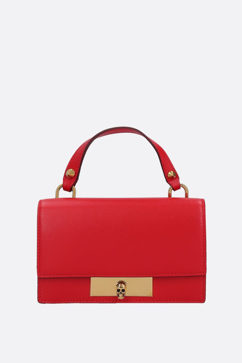ALEXANDER McQUEEN: smooth leather Skull-lock crossbody bag Color Red_1