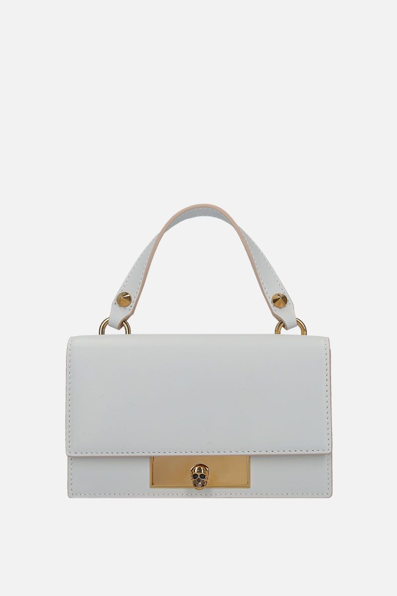 ALEXANDER McQUEEN: smooth leather Skull-lock bag Color White_1