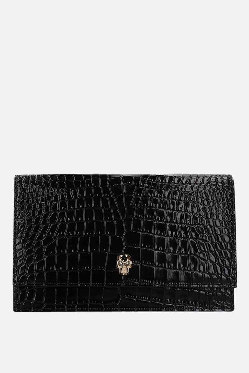 ALEXANDER McQUEEN: Skull medium crocodile embossed leather crossbody bag Color Black_1