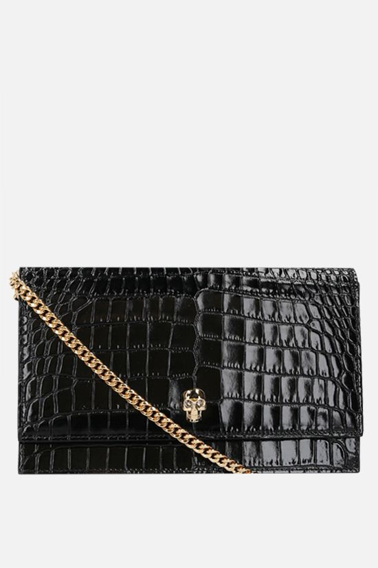 ALEXANDER McQUEEN: Skull medium crocodile embossed leather shoulder bag Color Black_1