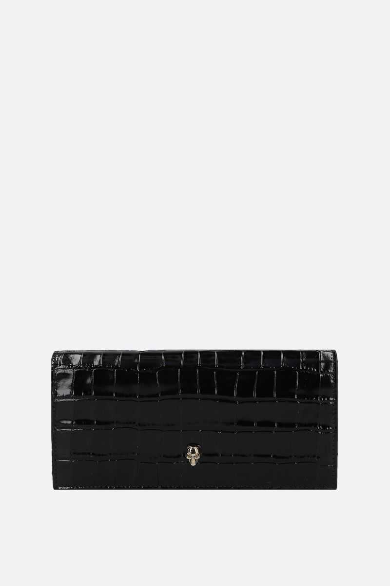 ALEXANDER McQUEEN: crocodile embossed leather wallet on chain Color Black_1