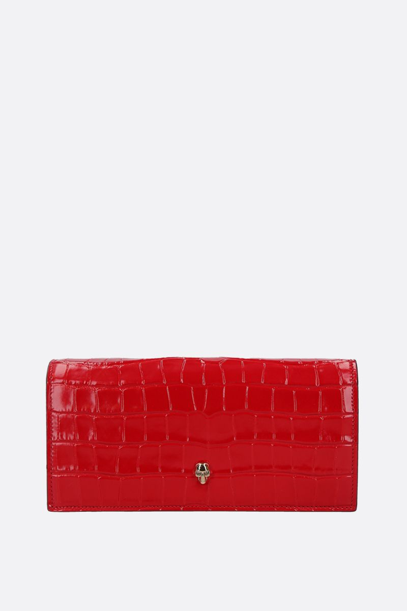 ALEXANDER McQUEEN: crocodile embossed leather wallet on chain Color Red_1