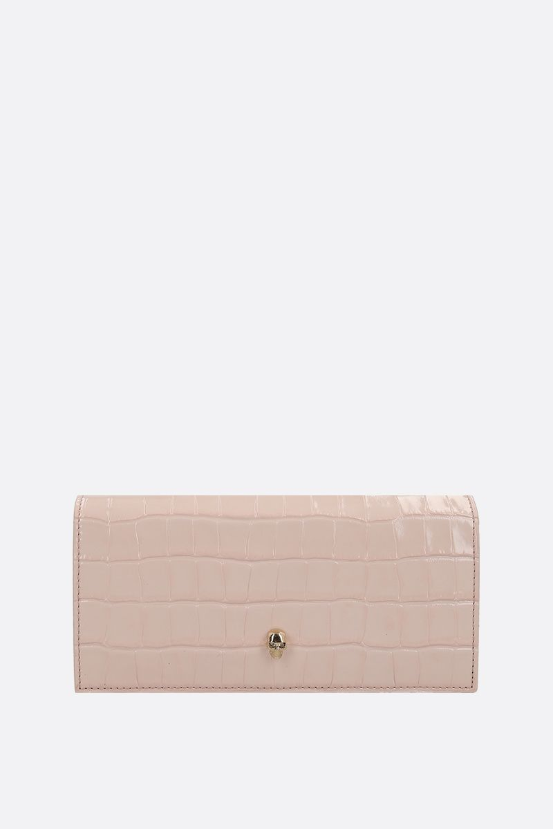 ALEXANDER McQUEEN: crocodile embossed leather wallet on chain_1