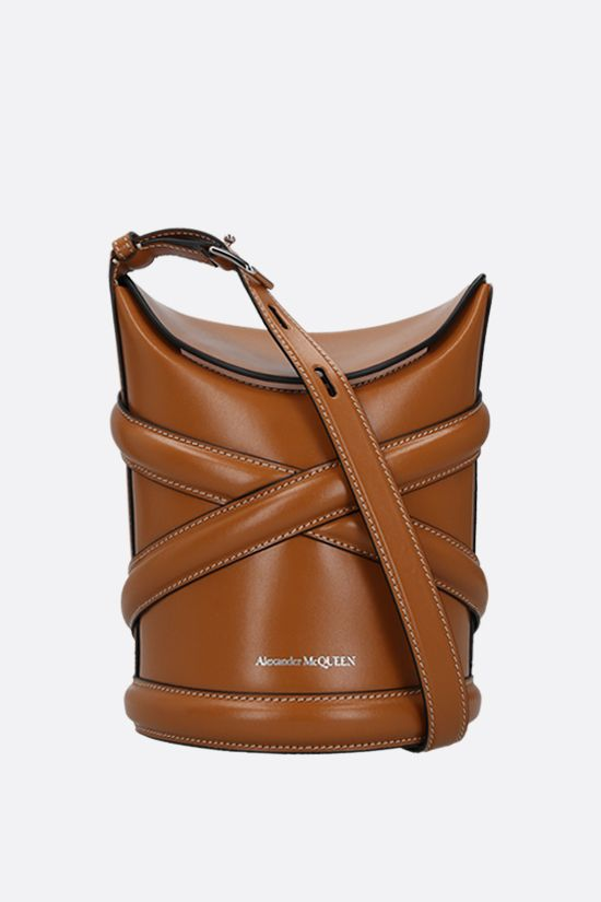 ALEXANDER McQUEEN: The Curve small smooth leather bucket bag Color Brown_1