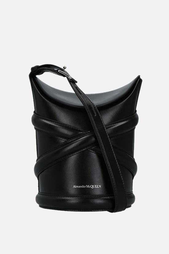 ALEXANDER McQUEEN: The Curve small smooth leather bucket bag Color Black_1