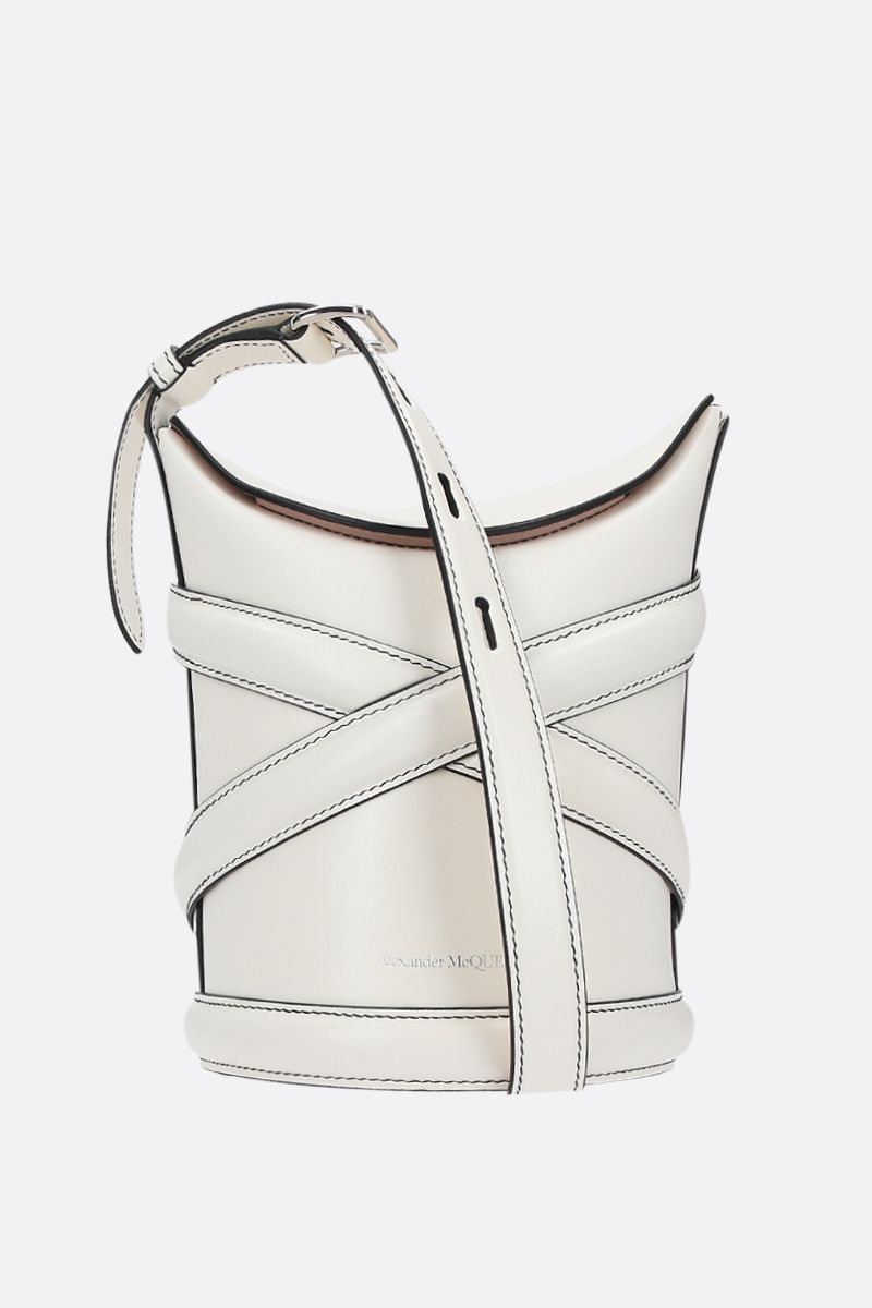 ALEXANDER McQUEEN: The Curve small smooth leather bucket bag Color White_1