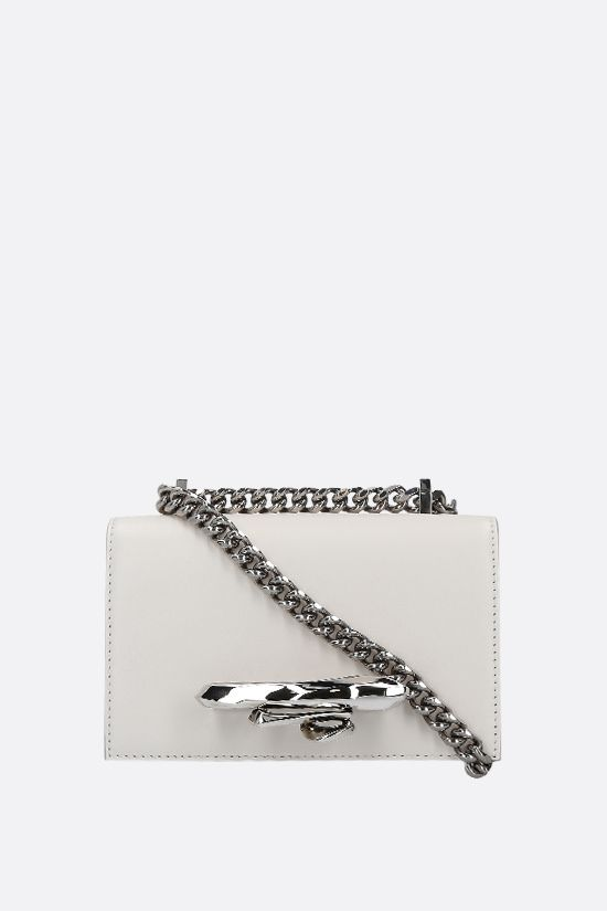 ALEXANDER McQUEEN: Sculptural Jewelled Satchel mini smooth leather crossbody bag Color White_1
