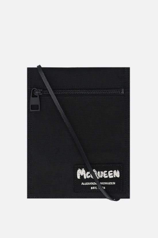 ALEXANDER McQUEEN: McQueen Tag nylon crossbody bag Color Black_1