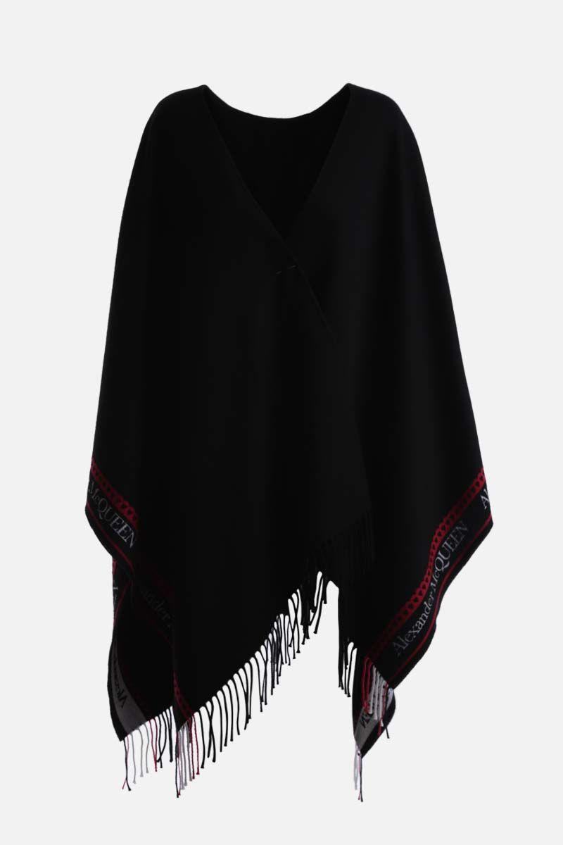 ALEXANDER McQUEEN: logo and heart-detailed wool cashmere blend cape Color Black_1