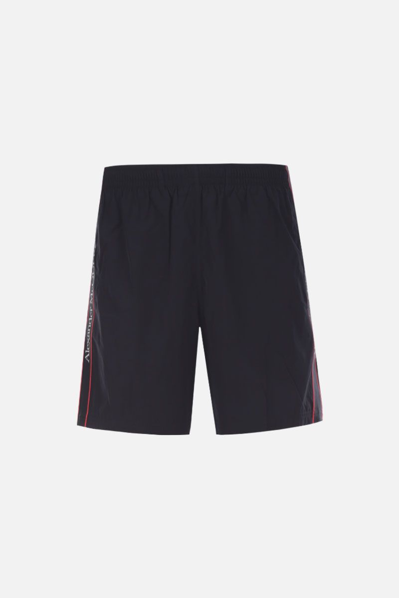 ALEXANDER McQUEEN: nylon swim shorts with logoed bands Color Black_1
