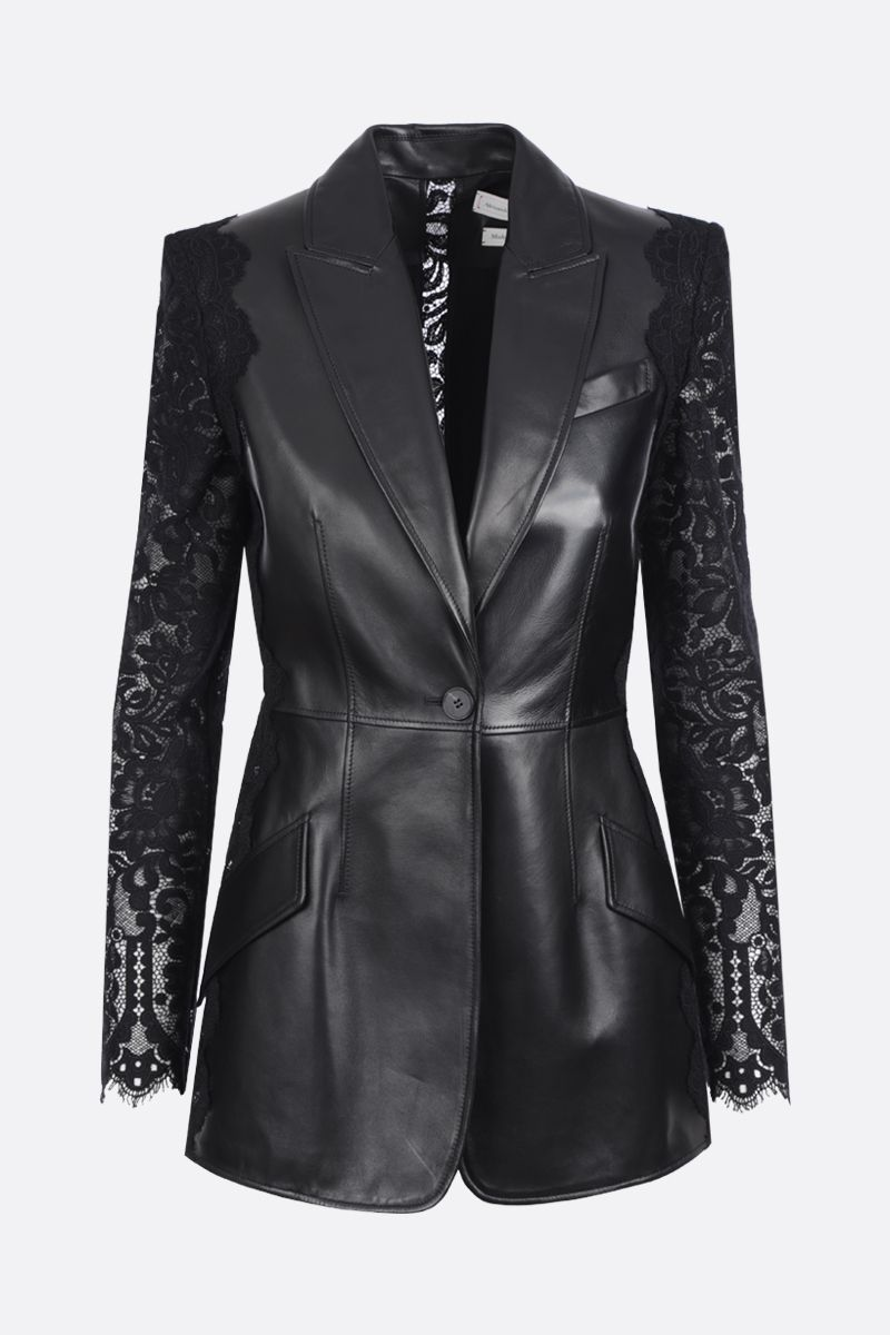 ALEXANDER McQUEEN: leather and lace single-breasted jacket Color Black_1