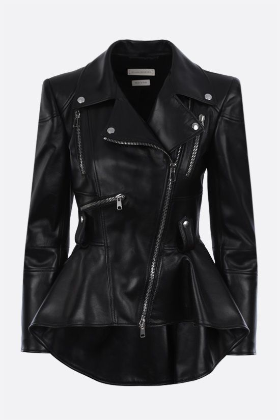 ALEXANDER McQUEEN: peplum hem-detailed nappa biker jacket Color Black_1