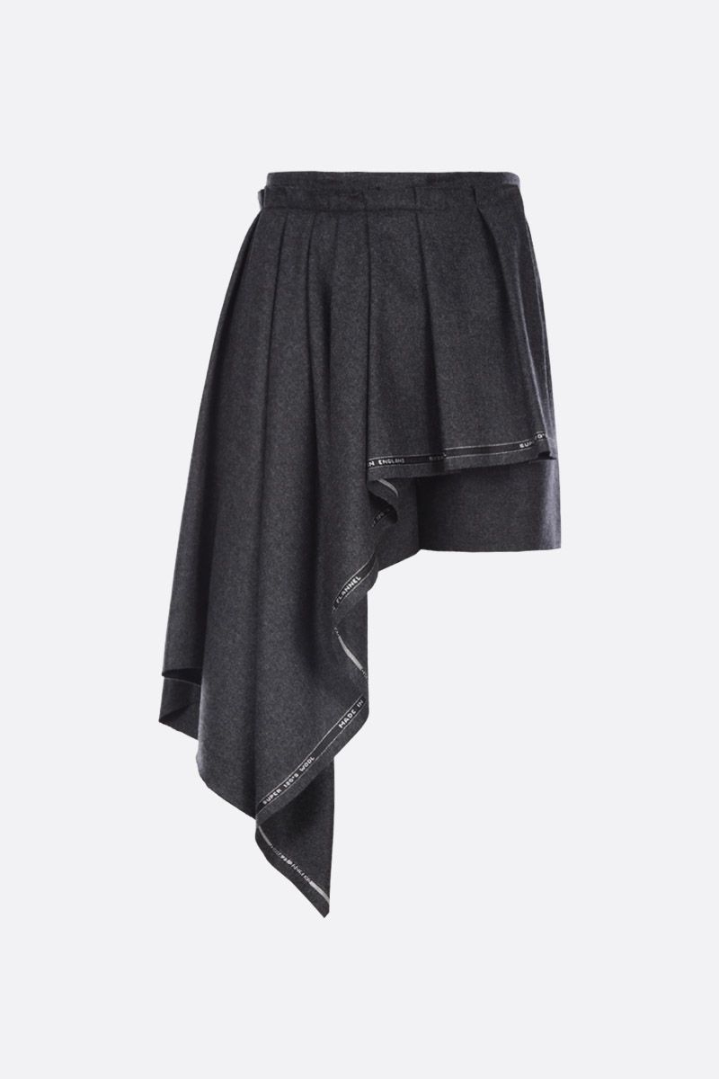 ALEXANDER McQUEEN: flannel shorts with draped panel Color Black_1
