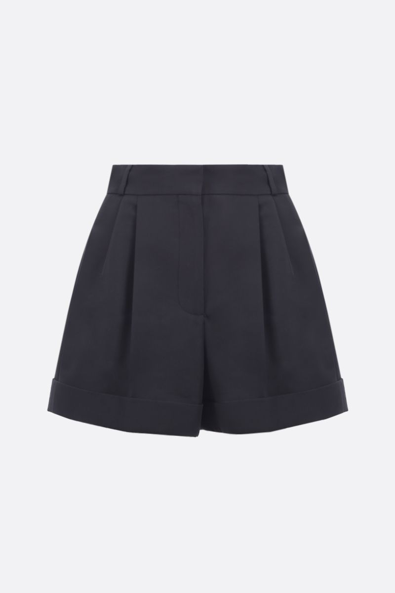ALEXANDER McQUEEN: cotton silk blend darted shorts Color Black_1
