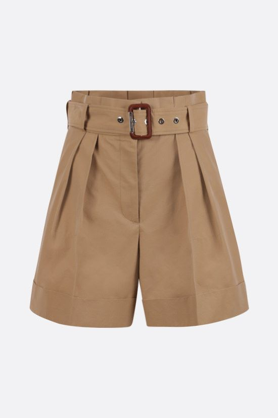 ALEXANDER McQUEEN: darted cotton shorts Color Brown_1