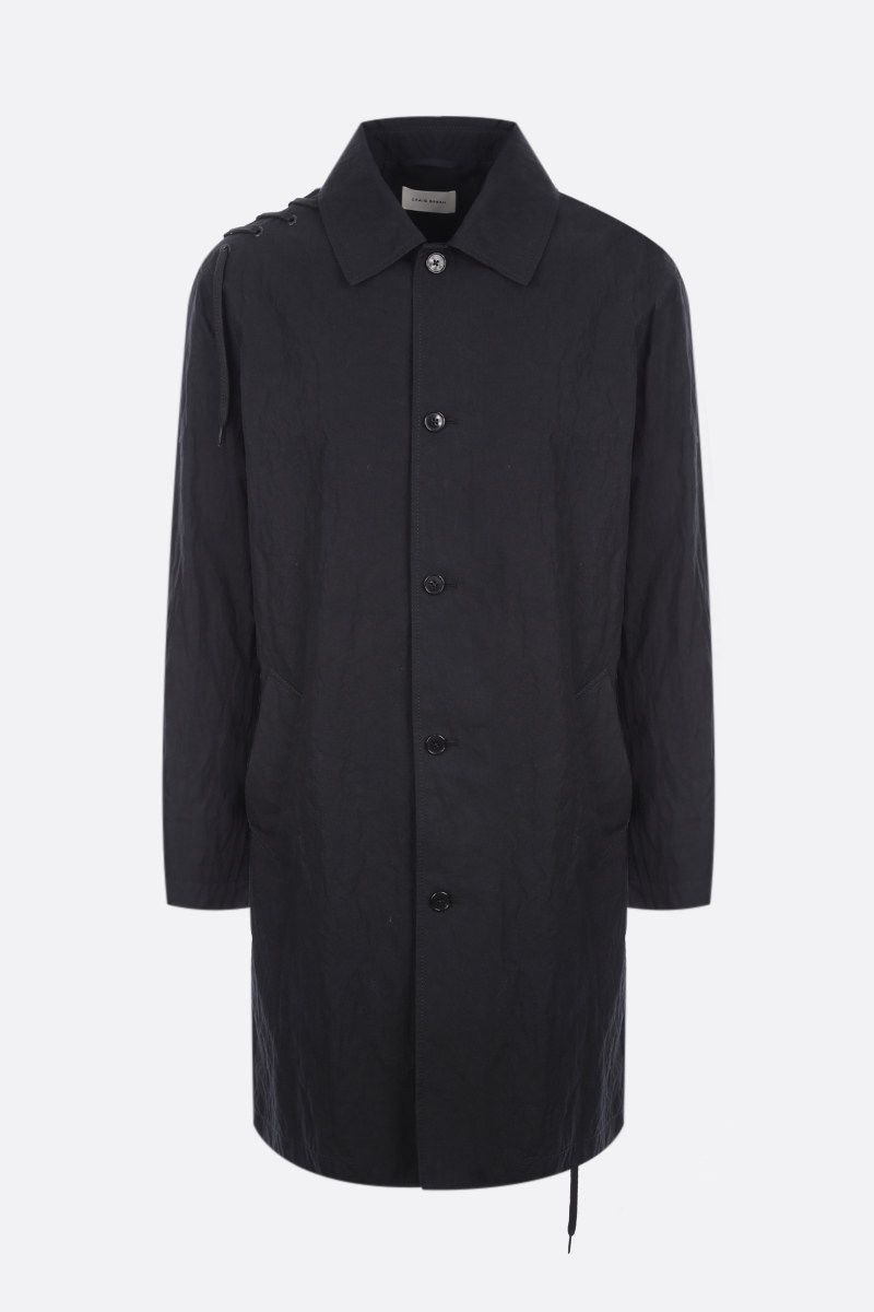 CRAIG GREEN: lace-detailed technical cotton overcoat Color Black_1