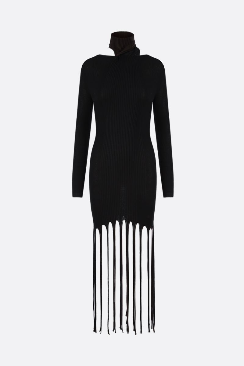 BOTTEGA VENETA: fringe-detailed cotton silk blend short dress Color Black_1