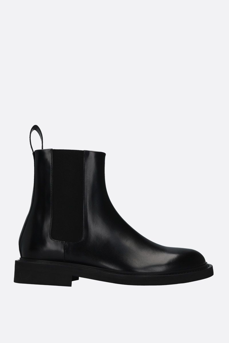 BOTTEGA VENETA: shiny leather chelsea boots Color Black_1