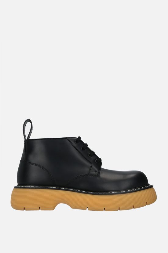 BOTTEGA VENETA: The Bounce brushed leather flatform boots Color Black_1