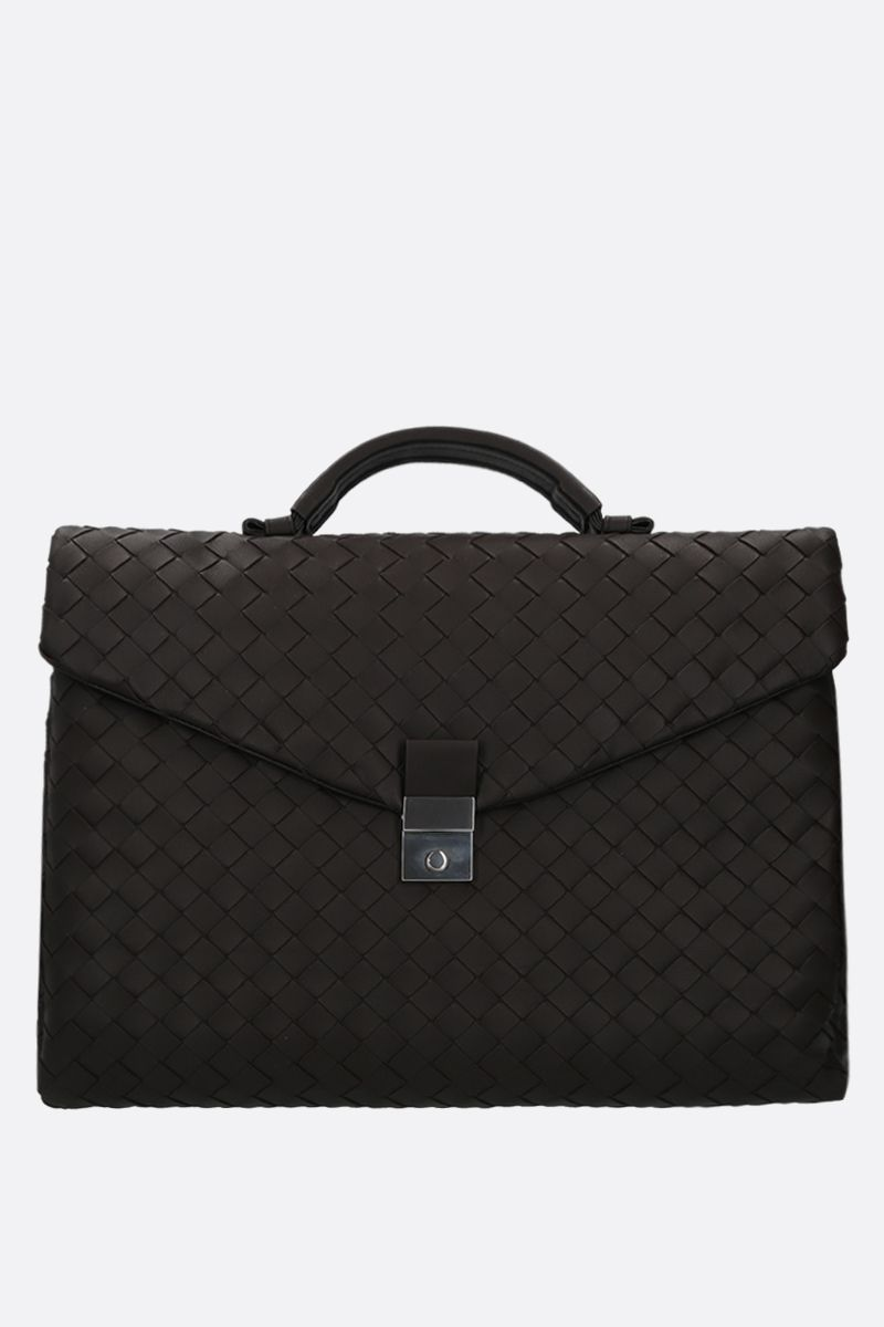 BOTTEGA VENETA: Intrecciato nappa business bag Color Brown_1