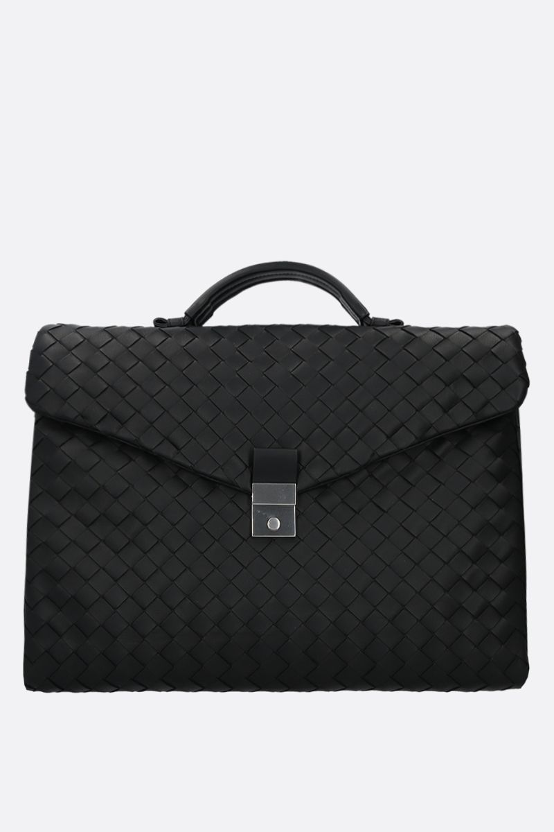 BOTTEGA VENETA: Intrecciato nappa business bag Color Black_1