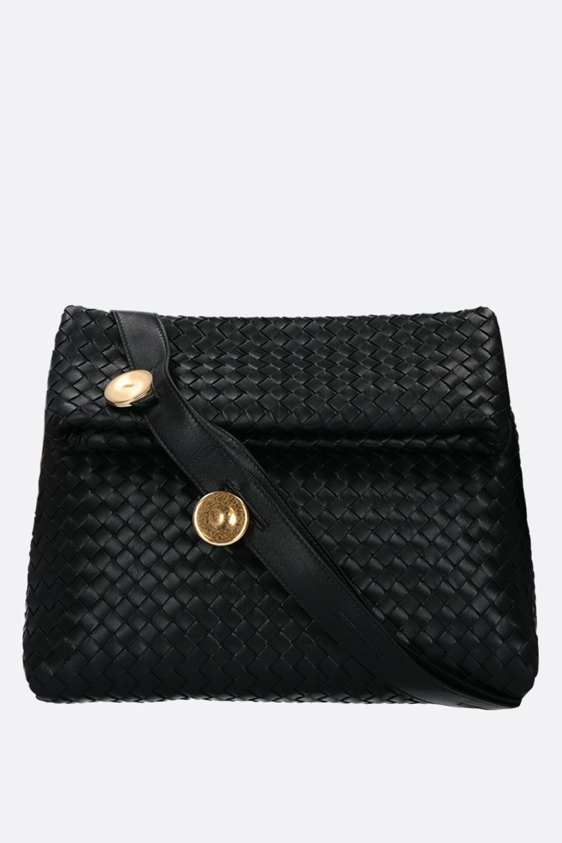 BOTTEGA VENETA: Intrecciato nappa crossbody bag Color Black_1
