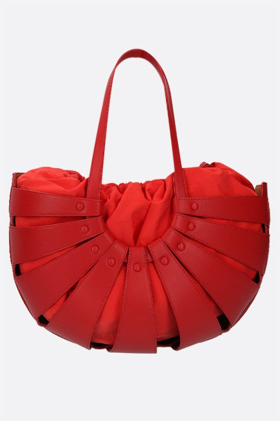 BOTTEGA VENETA: The Shell smooth leather shoulder bag Color Red_1