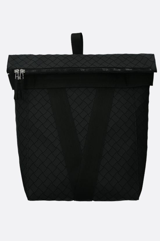 BOTTEGA VENETA: Intrecciato-motif rubber and fabric backpack Color Black_1