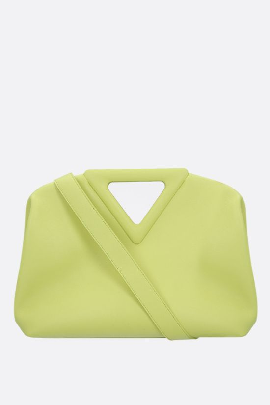 BOTTEGA VENETA: borsa a mano Point media in pelle liscia Colore Verde_1