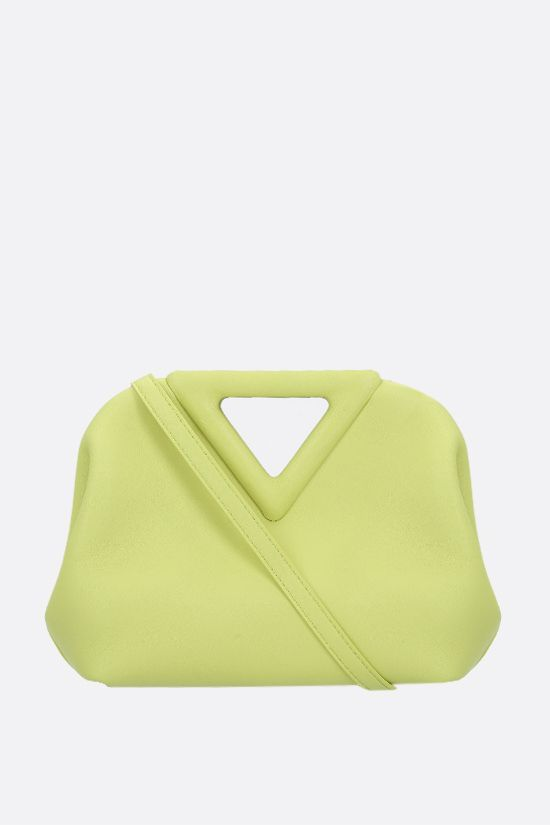 BOTTEGA VENETA: borsa a mano Point mini in pelle liscia Colore Verde_1