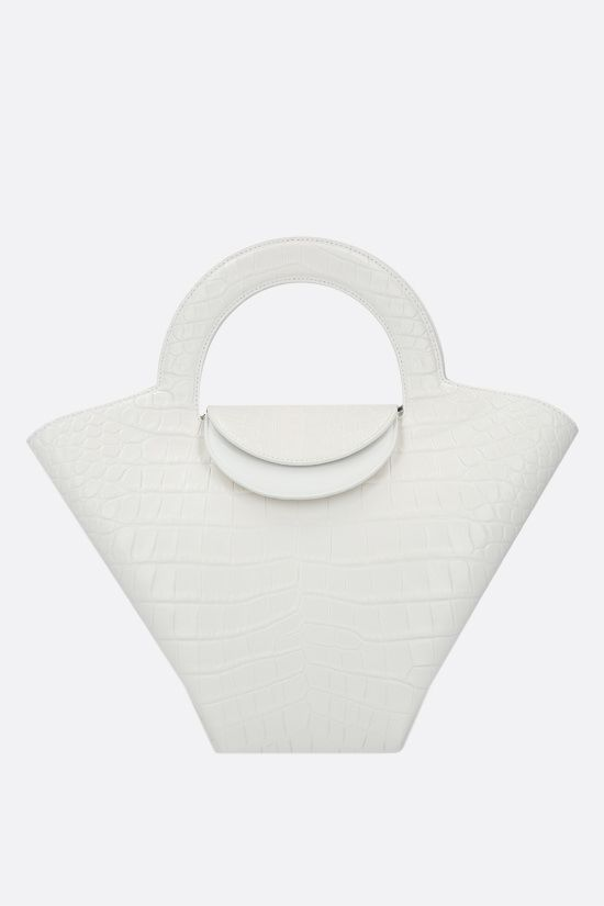 BOTTEGA VENETA: Skypper small croc-embossed leather tote bag Color White_1