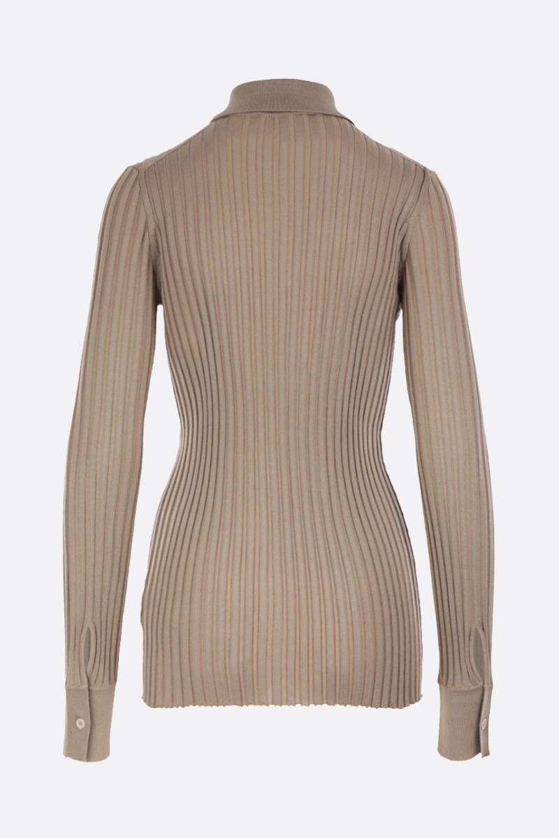 BOTTEGA VENETA: ribbed silk cardigan Color Gold_2