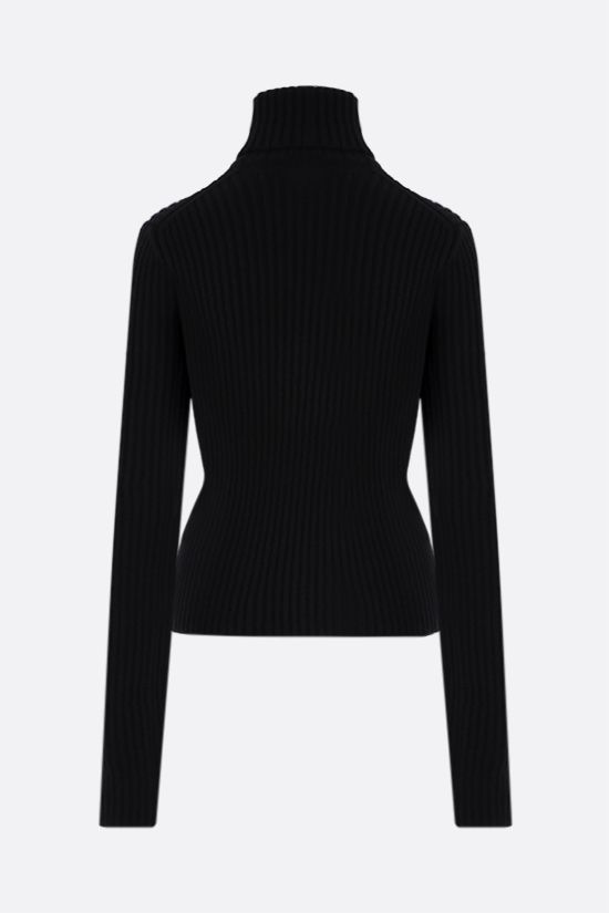 BOTTEGA VENETA: ribbed wool blend turtleneck Color Black_2