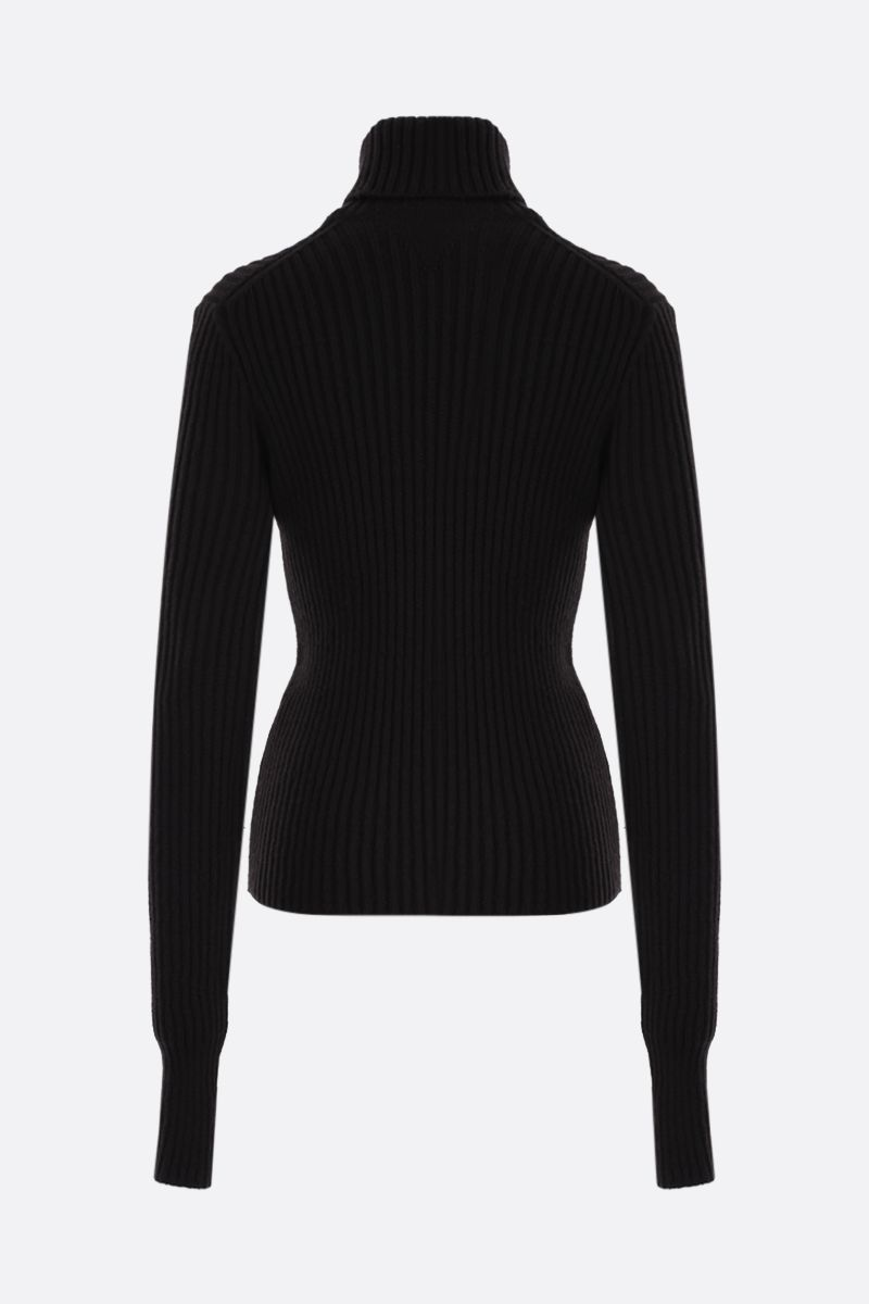 BOTTEGA VENETA: ribbed wool blend turtleneck Color Brown_2