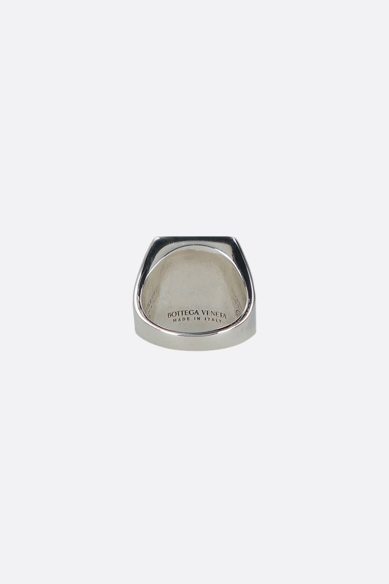 BOTTEGA VENETA: enameled sterling silver chevalier ring Color Red_2