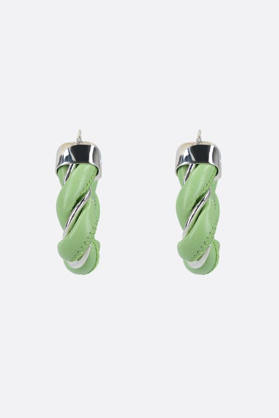 BOTTEGA VENETA: sterling silver and nappa triangle earrings Color Green_2