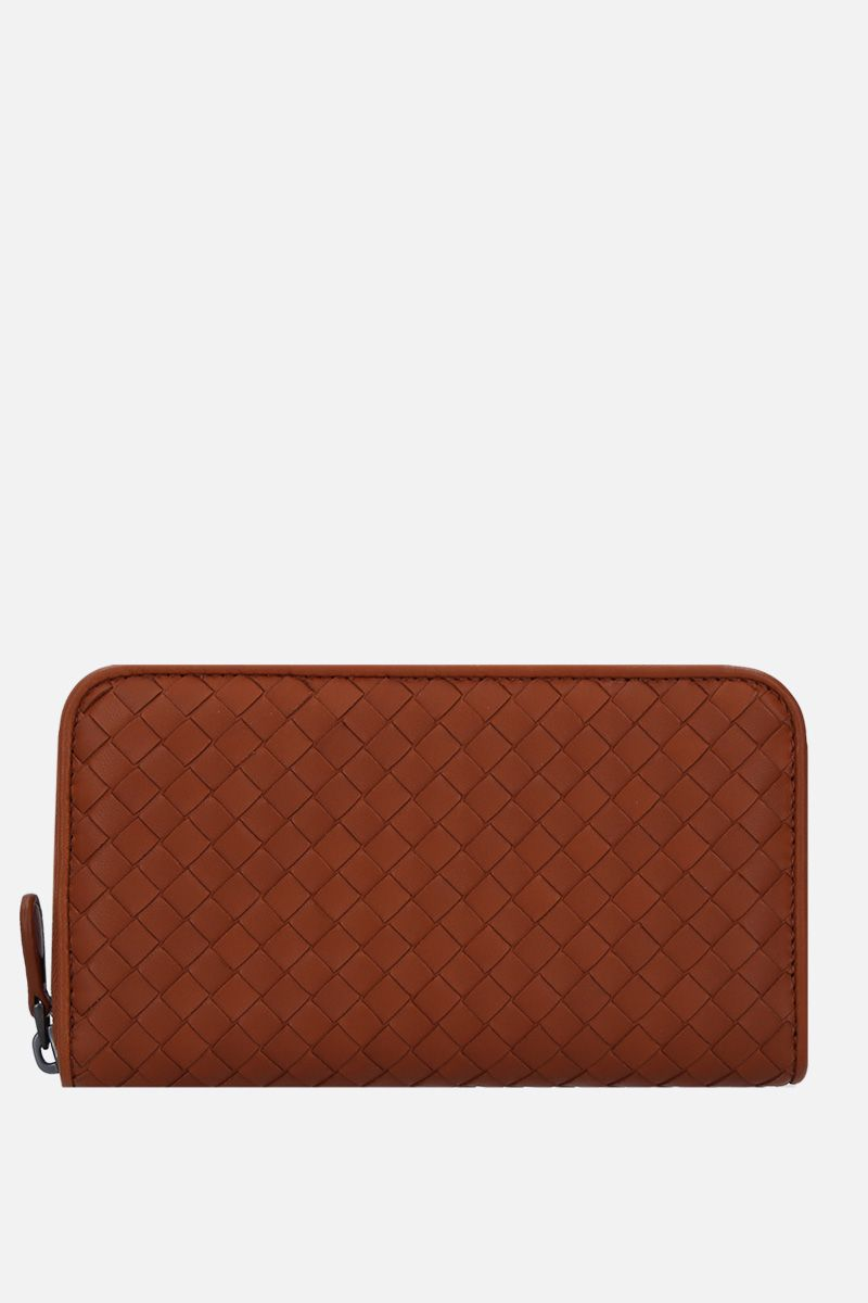 BOTTEGA VENETA: zip-around wallet in Intrecciato nappa Color Brown_1