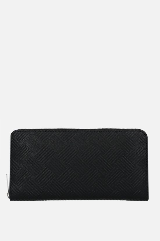 BOTTEGA VENETA: embossed leather zip-around wallet Color Black_1