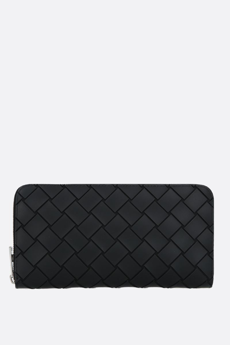 BOTTEGA VENETA: embossed Intrecciato zip-around wallet Color Black_1