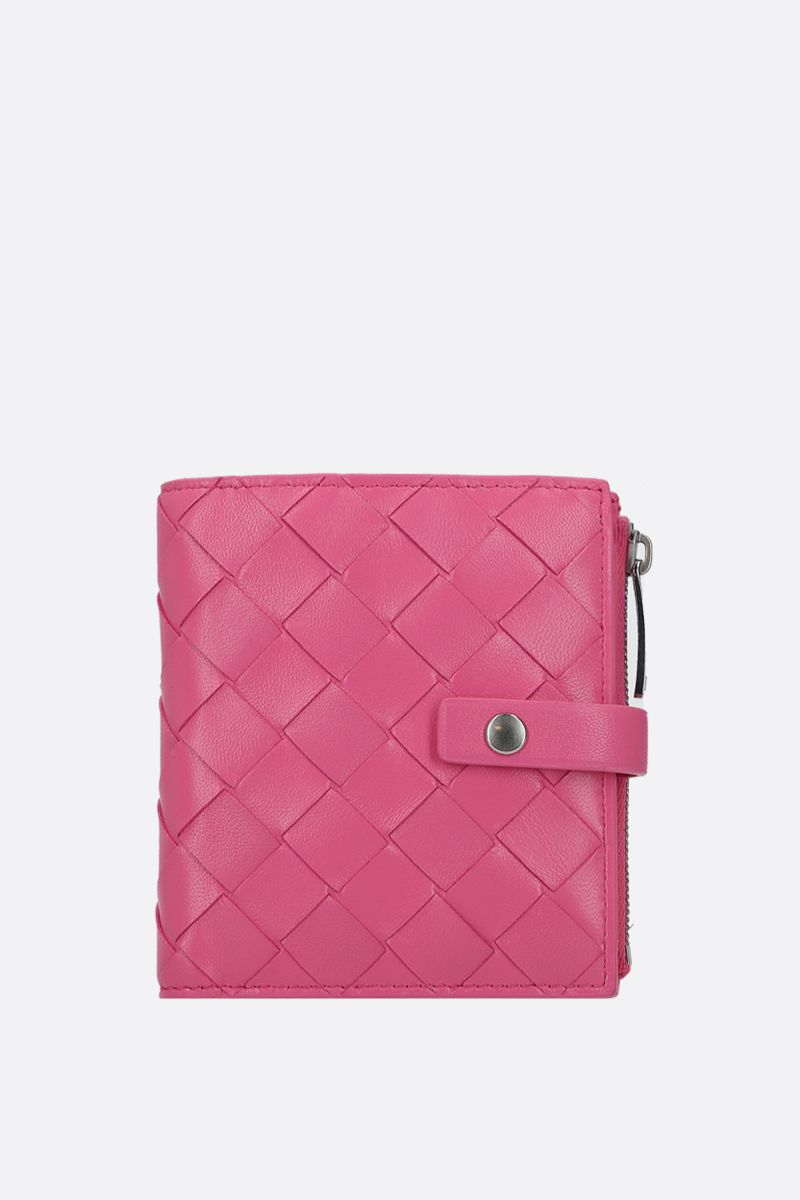 BOTTEGA VENETA: shiny Intrecciato mini wallet Color Pink_1