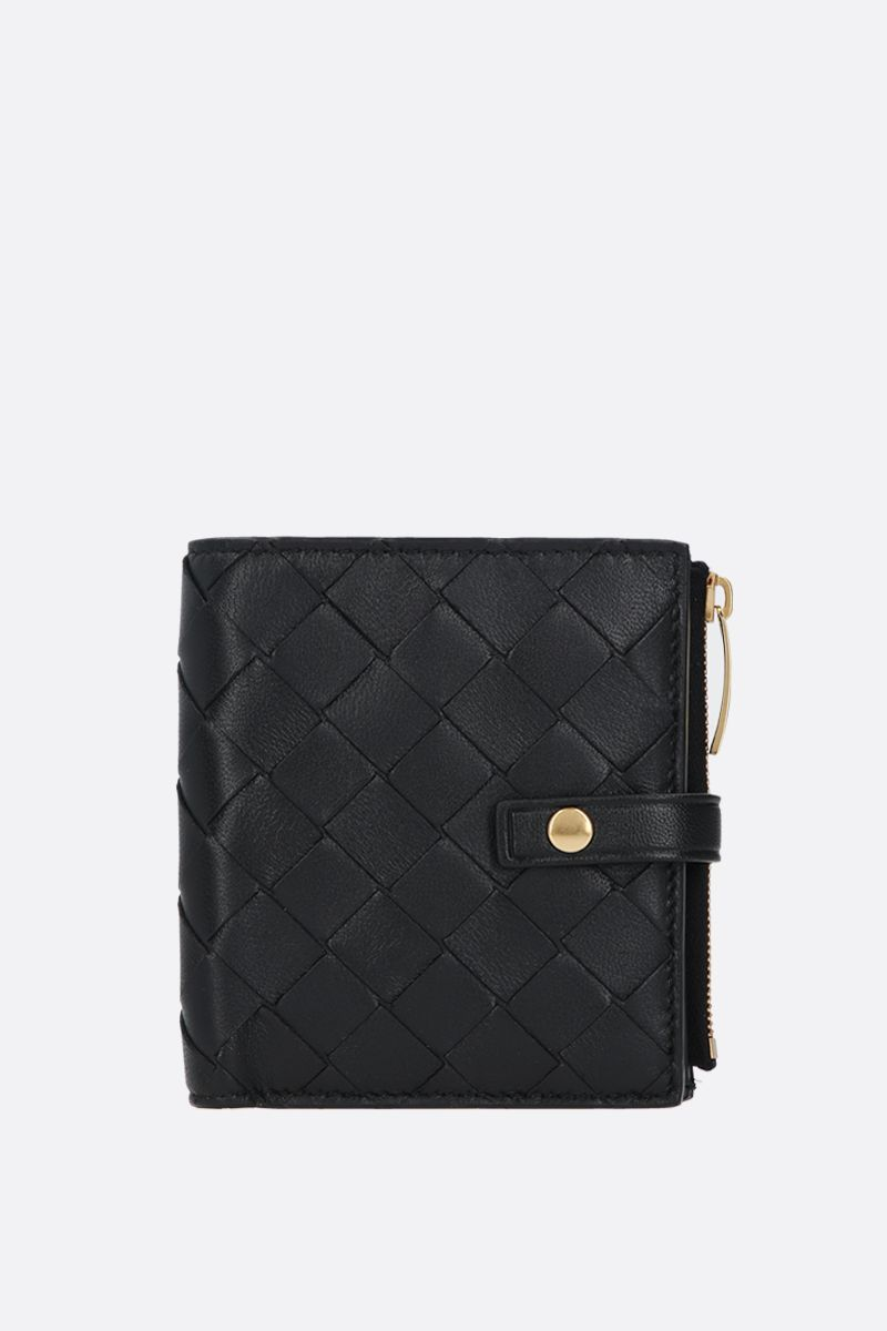 BOTTEGA VENETA: shiny Intrecciato mini wallet Color Black_1