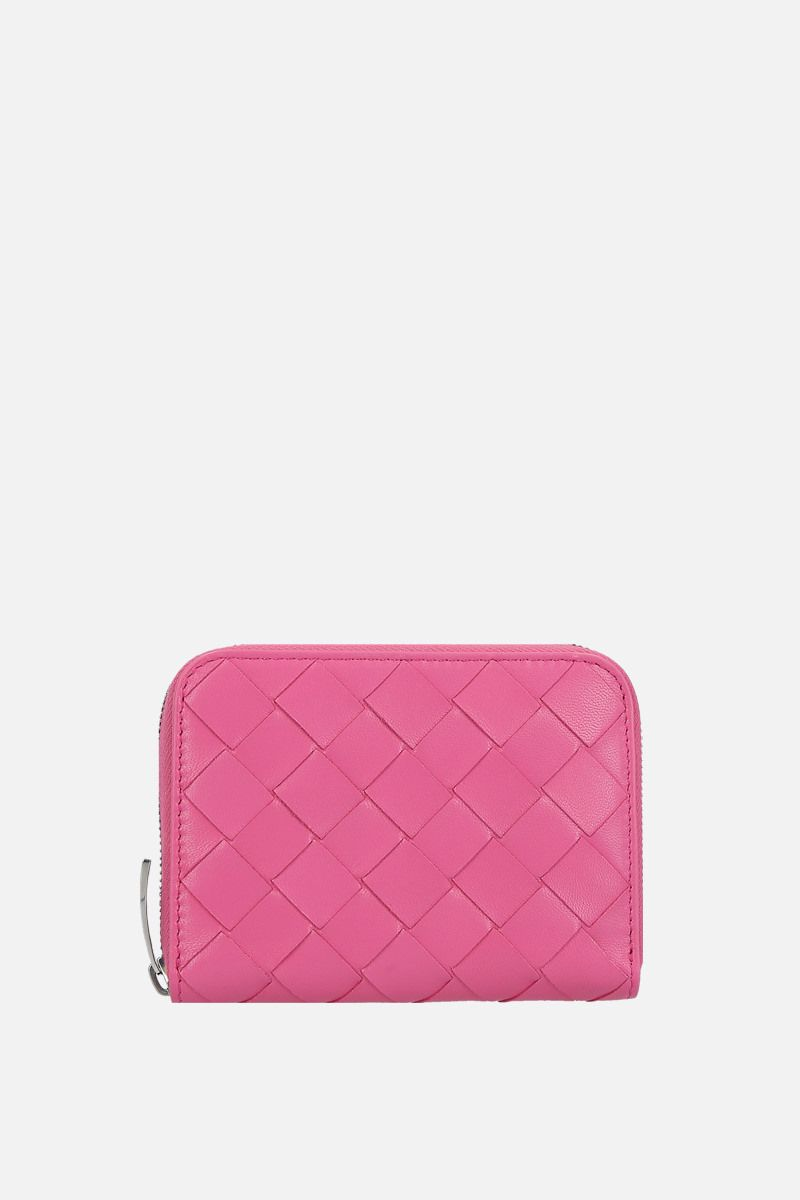 BOTTEGA VENETA: shiny Intrecciato zip-around mini wallet Color Pink_1