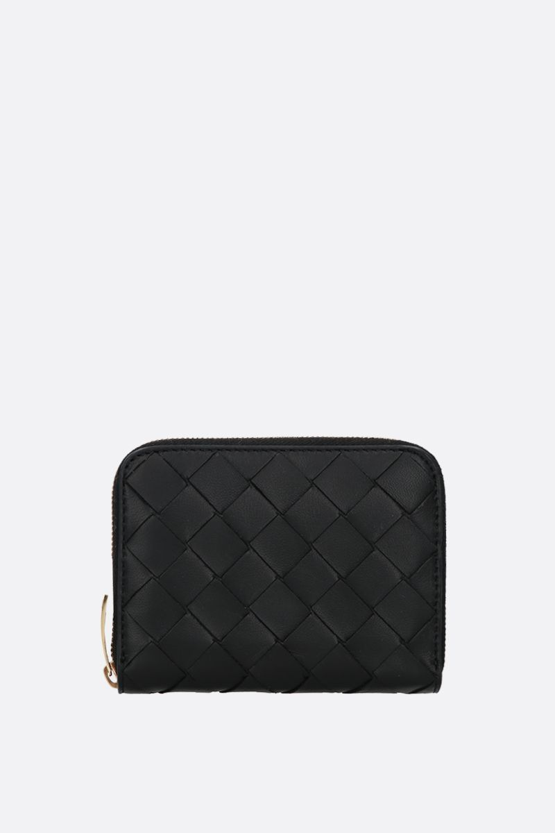 BOTTEGA VENETA: shiny Intrecciato zip-around mini wallet Color Black_1