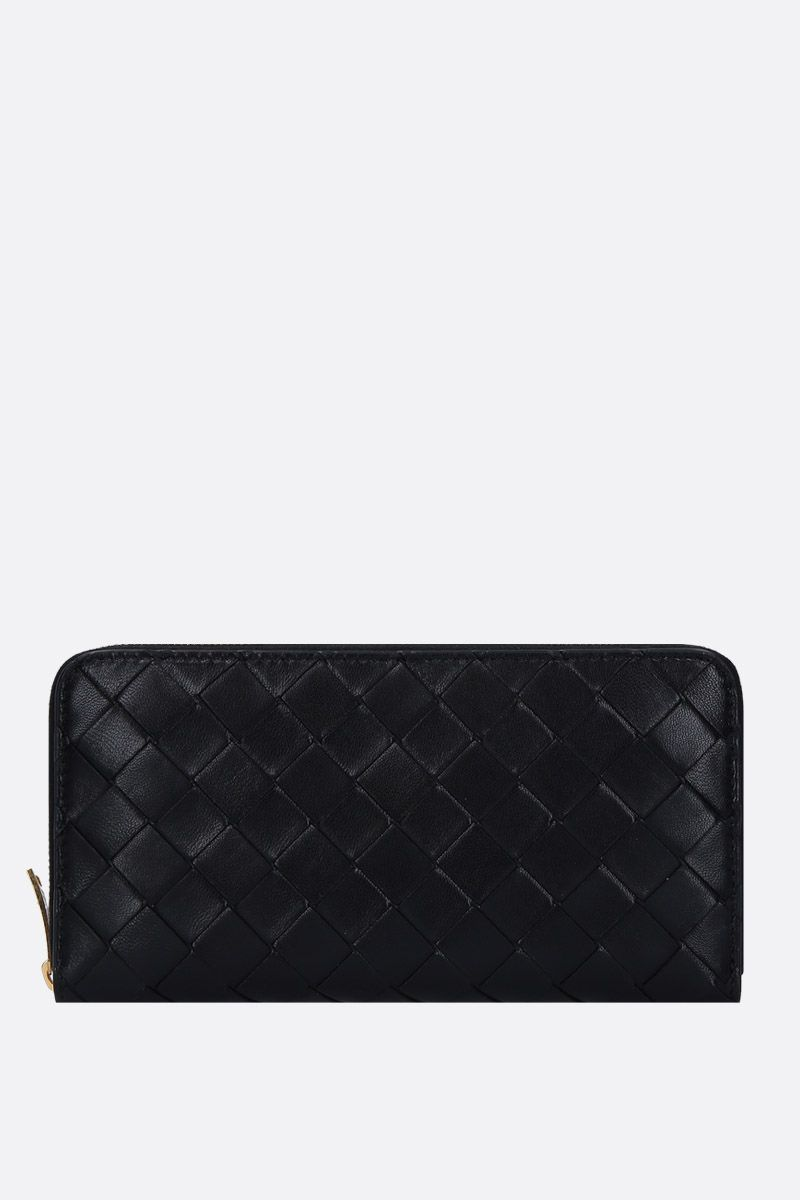 BOTTEGA VENETA: Intrecciato nappa zip-around wallet Color Black_1