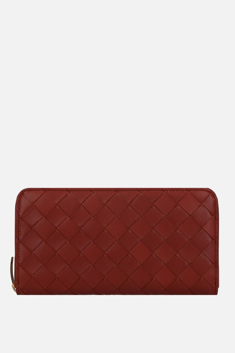 BOTTEGA VENETA: Intrecciato nappa zip-around wallet Color Red_1