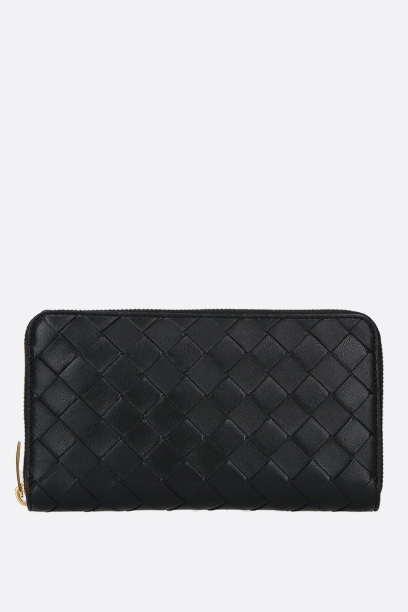 BOTTEGA VENETA: shiny Intrecciato zip-around wallet Color Black_1