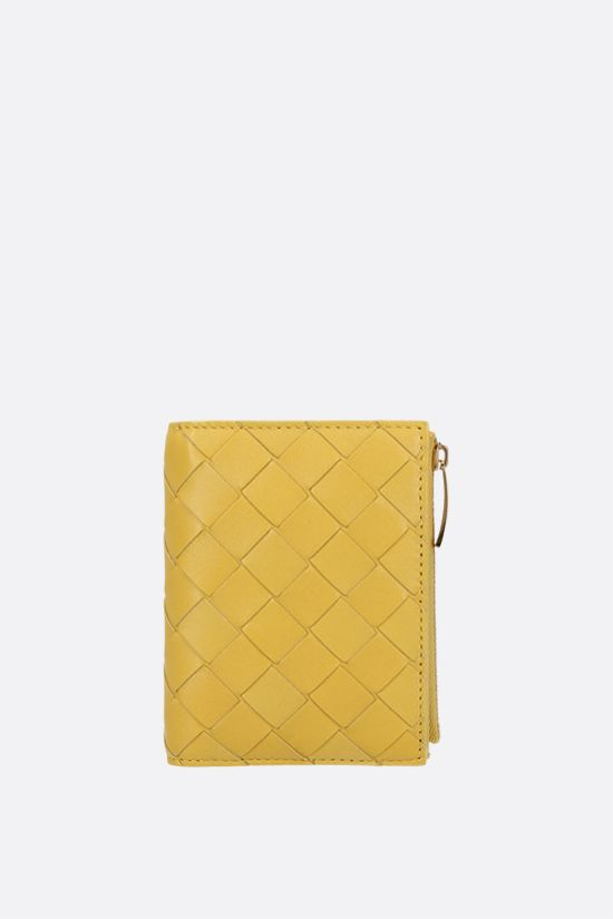 BOTTEGA VENETA: Intrecciato nappa flap wallet Color White_1